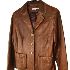 CAbi Brown Leather Blazer Jacket  Cropped sz 6